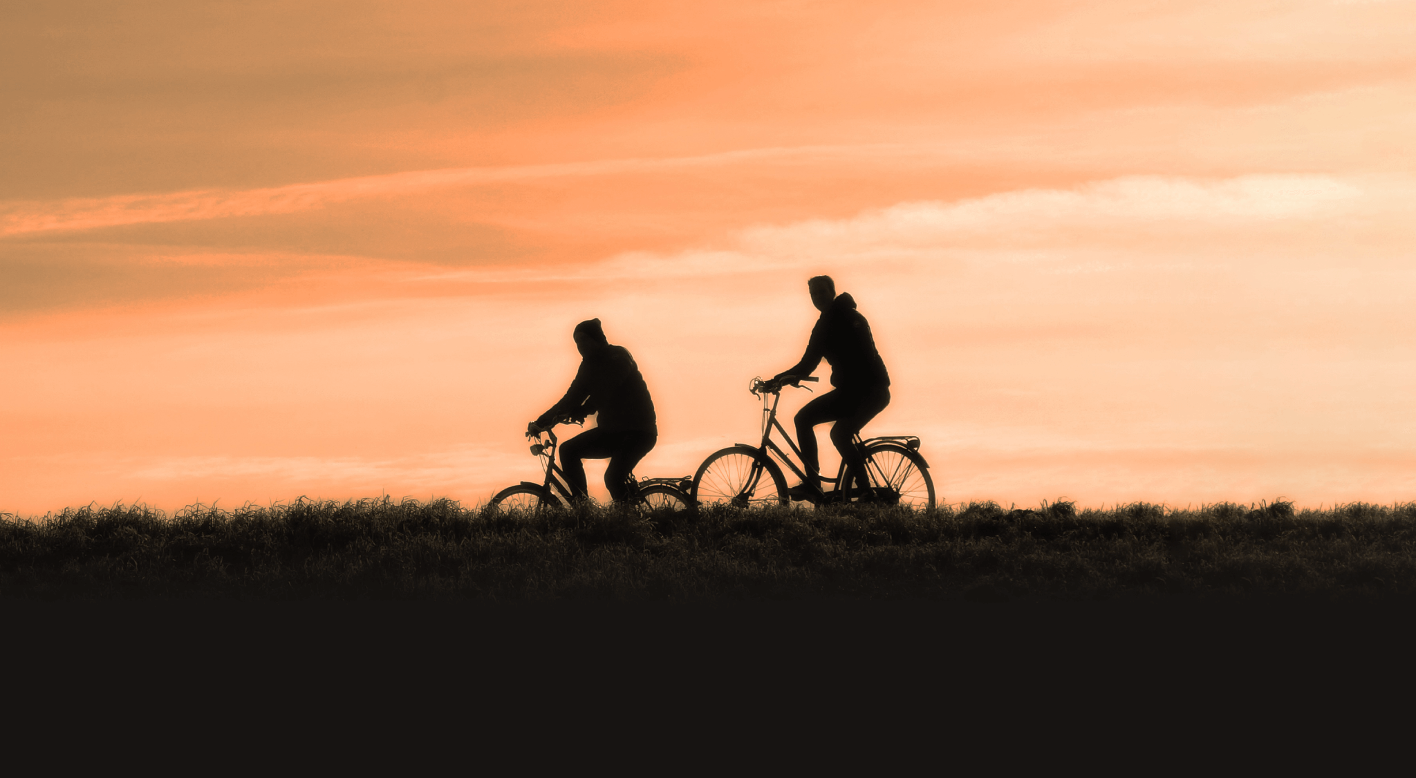 riding bicycles at dusk