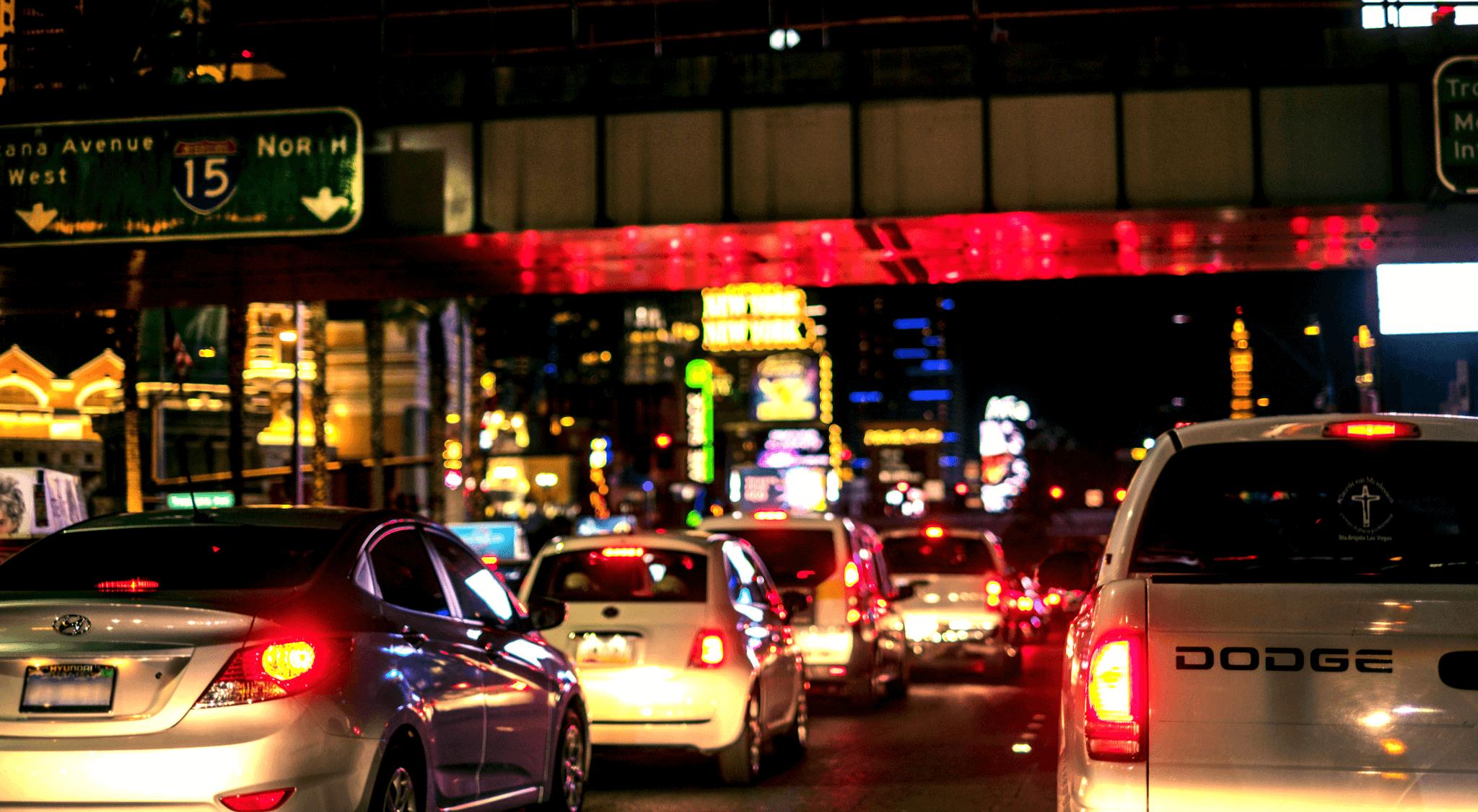 cars in las vegas city traffic